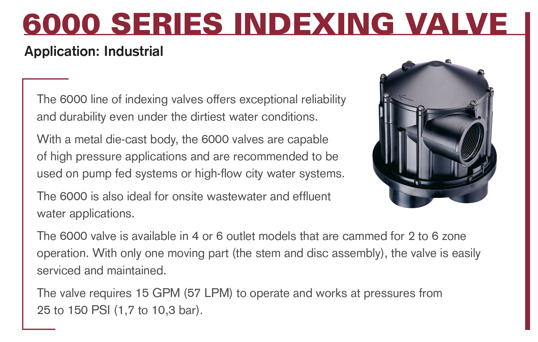 6000 Series Indexing Valves