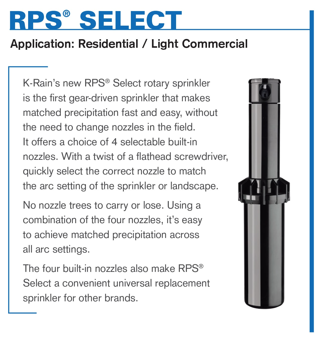 RPS Select Rotary Sprinkler